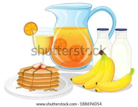 Illustration of the healthy drinks and foods on a white background - stock vector