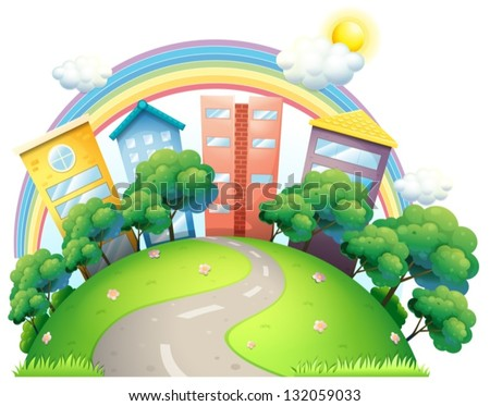 Illustration of the high buildings and the rainbow on a white background