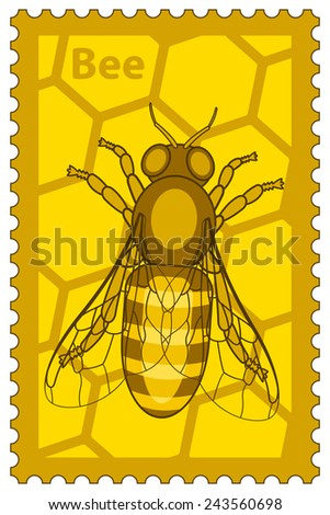 Illustration of the honey bee stamp - stock vector