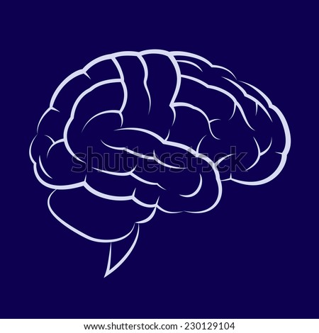 Illustration of the human brain on dark blue background - stock vector