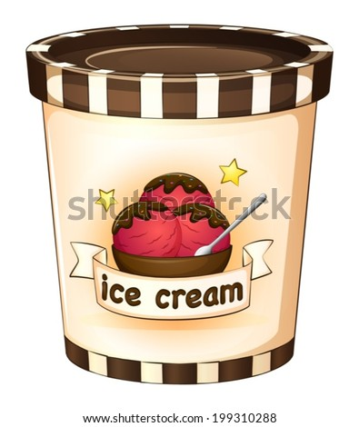 Illustration of the ice cream inside the disposable cup on a white background - stock vector