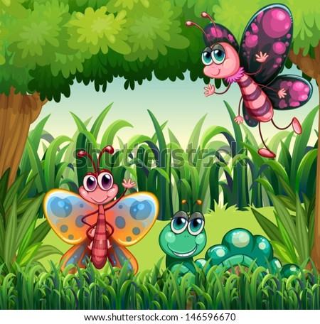 Illustration of the insects at the forest - stock vector