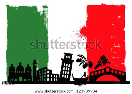 Illustration of the Italy flag and silhouettes - stock vector