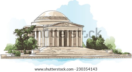 Illustration of the Jefferson Memorial in Washington, D.C., USA.