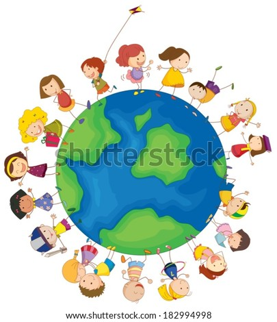 Illustration of the kids around the globe on a white background - stock vector
