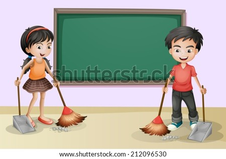Illustration of the kids cleaning near the empty board - stock vector