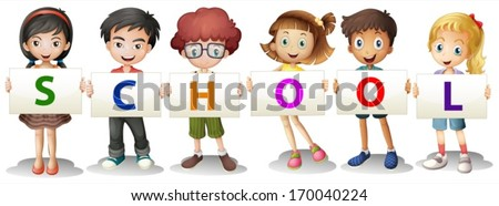 Illustration of the kids forming the school letters on a white background - stock vector