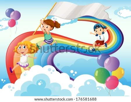 Illustration of the kids playing above the rainbow with an empty banner - stock vector