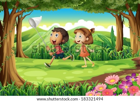 Illustration of the kids playing at the woods - stock vector