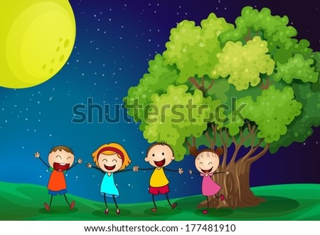 Illustration of the kids playing happily near the tree - stock vector