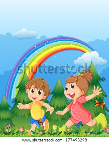 Illustration of the kids playing near the garden with a rainbow in the sky - stock vector