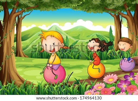 Illustration of the kids playing with their bouncing balloons at the forest - stock vector