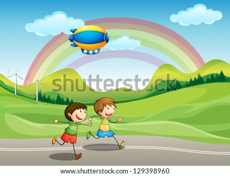 Illustration of the kids running with an airship above - stock vector