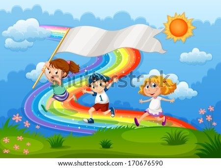 Illustration of the kids running with an empty banner and a rainbow in the sky - stock vector
