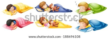 Illustration of the kids sleeping soundly on a white background - stock vector