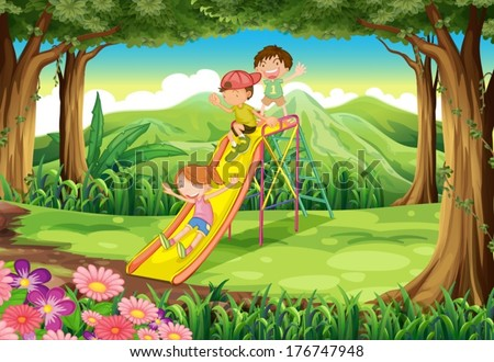 Illustration of the kids sliding at the forest - stock vector