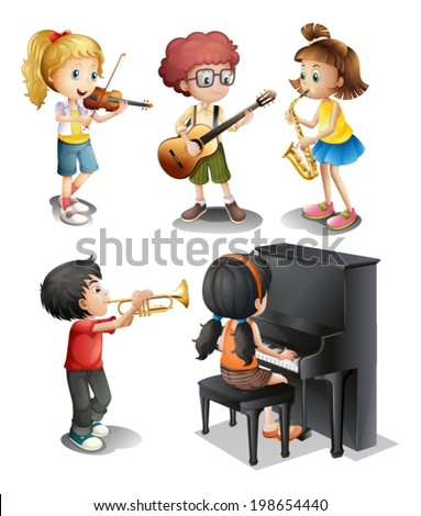 Illustration of the kids with musical talents on a white background - stock vector