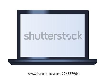 Illustration of the laptop computer on white background - stock vector