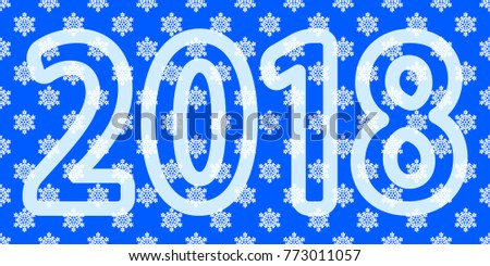 Illustration of the 2018 lettering on seamless snowflakes background