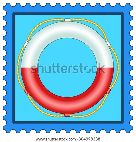 Illustration of the life buoy on postage stamp - stock vector
