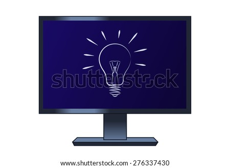 Illustration of the light bulb on the computer lcd monitor - stock vector
