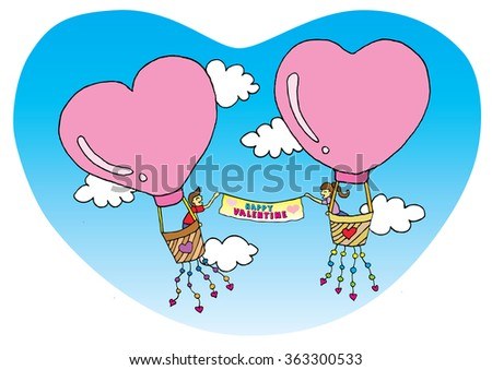 Illustration of the lovers celebrate valentine's day get in the hot air balloons