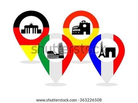 illustration of the main attractions of Spain, Germany, Italy, France and the pointers . - stock vector