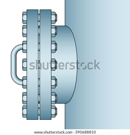 Illustration of the manhole icon. Side view - stock vector