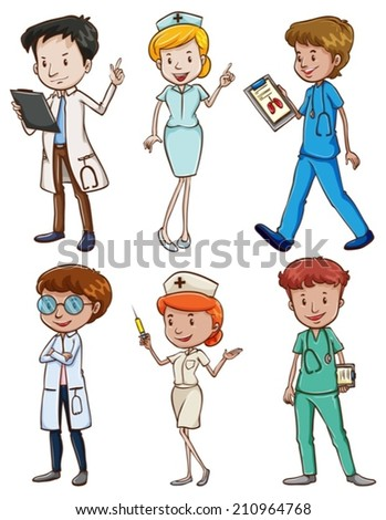 Illustration of the medical professionals on a white background