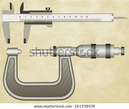 Illustration of the micrometer gauge and sliding calliper on vintage paper background - stock vector