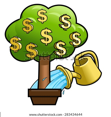 Illustration of the money tree and yellow watering can - stock vector