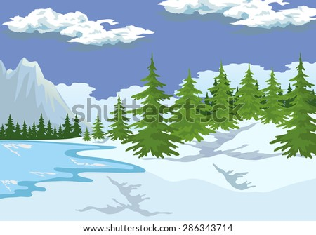 Illustration of the mountain landscape in winter. - stock vector