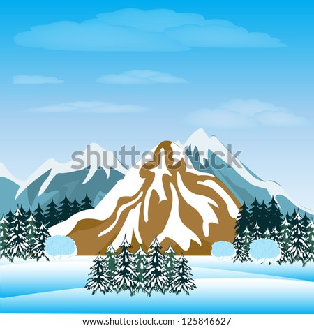 Illustration of the mountains and winter wood