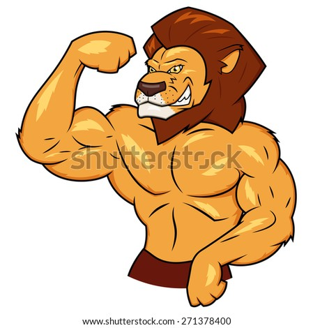 Illustration of the muscular lion posing - stock vector
