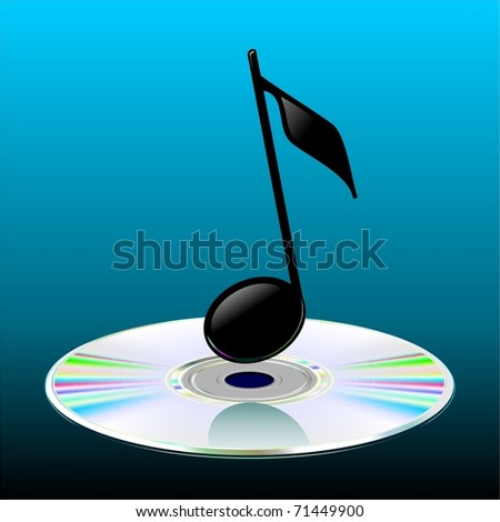 Illustration of the musical note and CD. Perspective. Discus. Vector. - stock vector