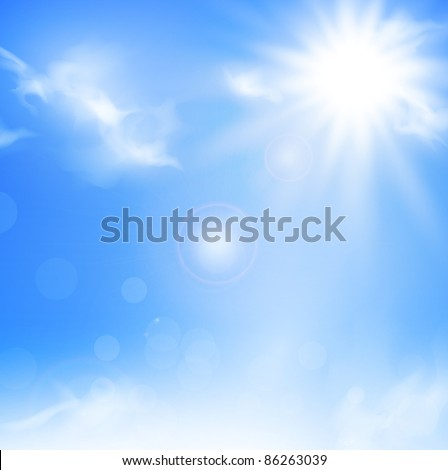 Illustration of the nature background with blue sky and sun - stock vector
