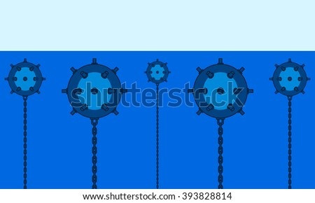 Illustration of the naval minefield icon - stock vector