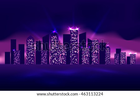 Illustration of the night city with lights switched on