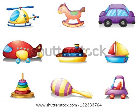 Illustration of the nine different kind of toys on a white background - stock vector