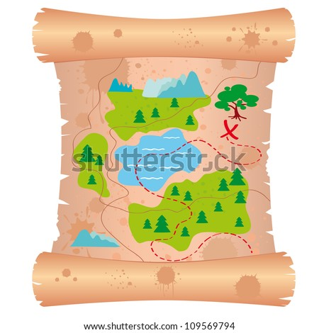 illustration of the old maps to find treasure - stock vector