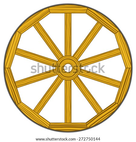 Illustration of the old vintage wooden wheel - stock vector