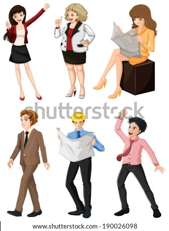 Illustration of the people with different professions on a white background - stock vector