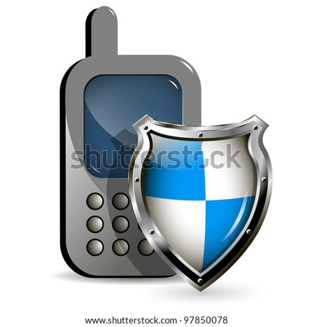 illustration of the phone and a metallic shield - stock vector