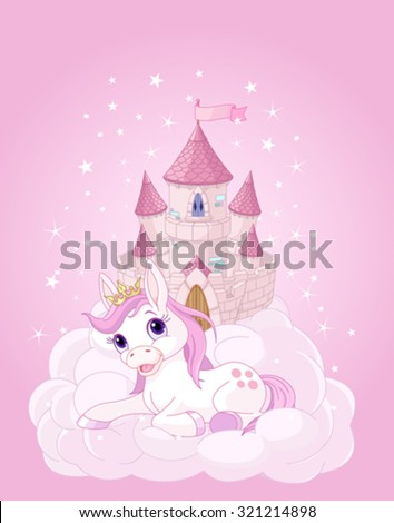 Illustration of the pink fairy castle and unicorn - stock vector