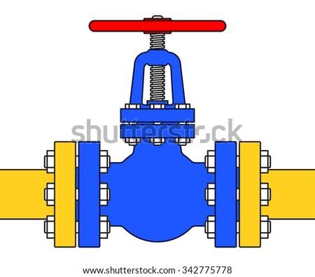 Illustration of the pipeline valve stopcock icon - stock vector