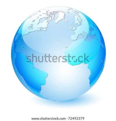 Illustration of the planet earth on a white background. Vector.