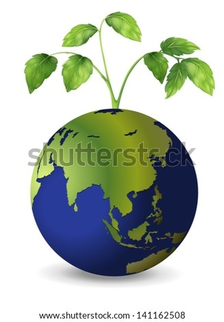 Illustration of the planet earth with growing plants