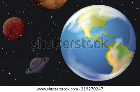 Illustration of the planets in the outerspace