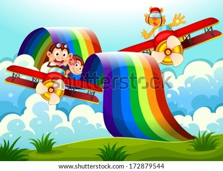 Illustration of the playful animals near the rainbow above the hills - stock vector