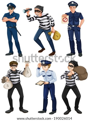 Illustration of the police officers and robbers on a white background - stock vector